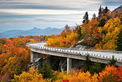 Mountain Royalty-Free and Rights-Managed Images - Blue Ridge Parkway Fall Foliage Linn Cove Viaduct by Dave Allen