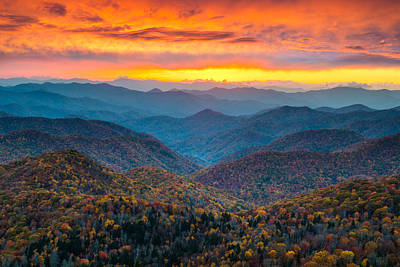 Vibrant Color Photograph - Blue Ridge Parkway Fall Sunset Landscape - Autumn Glory by Dave Allen