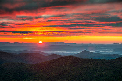 Landscapes Royalty-Free and Rights-Managed Images - North Carolina Blue Ridge Parkway NC Autumn Sunrise by Dave Allen