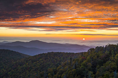 Smoky Mountains Photograph - Blue Ridge Parkway North Carolina Autumn Mountains Sunrise Fall Foliage by Dave Allen