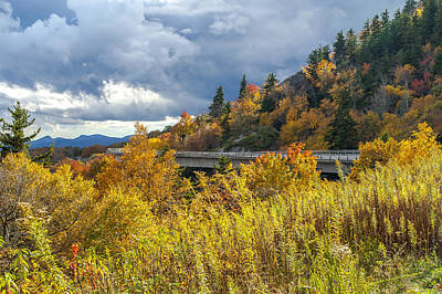 Photograph - Blue Ridge Parkway North Carolina Linn Cove Viaduct Autumn Skies by Terry DeLuco