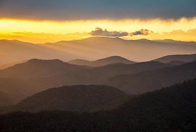 Appalachia Photograph - Blue Ridge Parkway Sunset - Appalachian Gold by Dave Allen