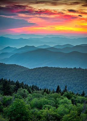 Blue Ridge Parkway Sunset - The Great Blue Yonder Art Print by Dave Allen