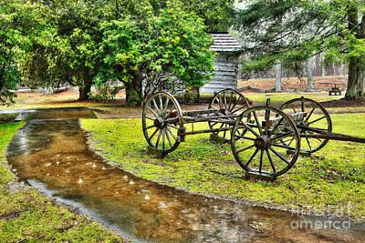Blue Ridge Parkway Vintage Wagon In The Rain I Art Print by Dan Carmichael
