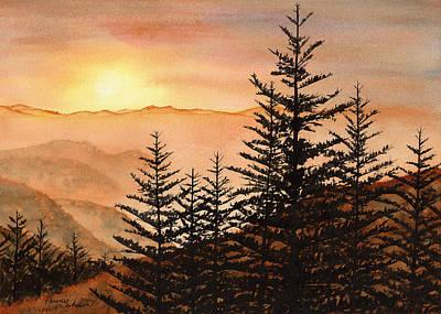 Smoky Mountains Painting - Blue Ridge Sunset by Penny Johnson