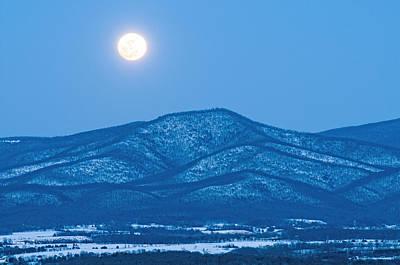 Photograph - Blue Ridge Winter Moon by Lara Ellis