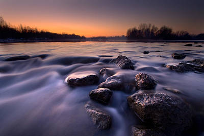 Last Light Photograph - Blue River by Davorin Mance