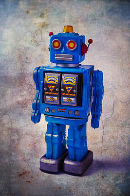 Blue Robot Toy Art Print by Garry Gay