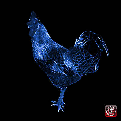 Digital Art - Blue Rooster 3186 F by James Ahn