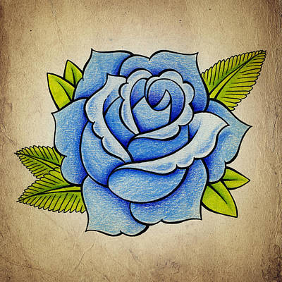Floral Wall Art - Drawing - Blue Rose by Samuel Whitton