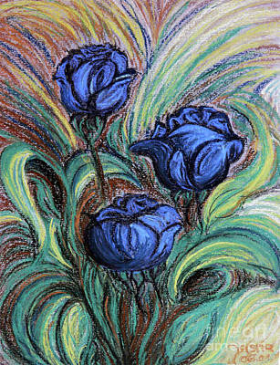 Art Print featuring the painting Blue Roses by Jasna Dragun