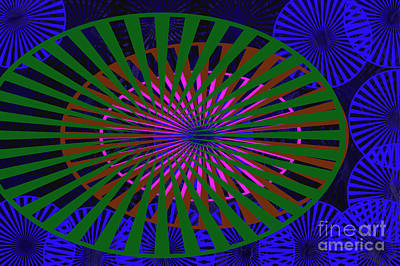 Blue Rounds And Spirals Art Print by Tina M Wenger