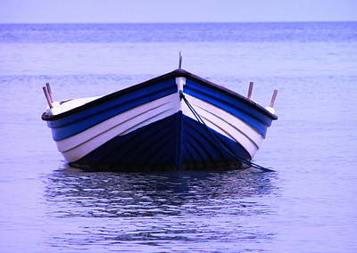 Photograph - Blue Row Boat by Tamyra Crossley