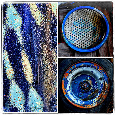 Abstract Photograph - Blue Rust Collage by Sylvia Thornton