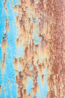 Metallic Sheets Photograph - Blue Rusty Metal by Tom Gowanlock