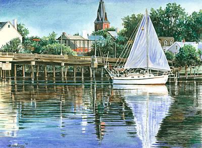 Reflecting Water Drawing - Blue Sails Copy by Mark Mahoney