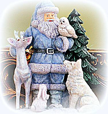 Photograph - Blue Santa With Animal Friends by Kay Novy