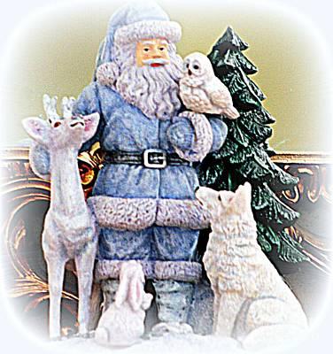 Photograph - Blue Santa With Animal Friends by Kay Novy