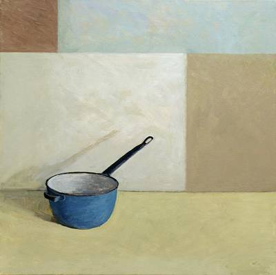 Rectangles Painting - Blue Saucepan by William Packer