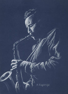 Saxophone Player Pastel - Blue Sax by Karen  Loughridge KLArt