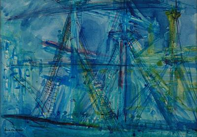 Sailing Vessel Photograph - Blue Schooner Pen & Ink With Wc On Paper by Brenda Brin Booker