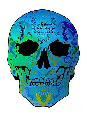 Blue Skull Art Print by Mauro Celotti