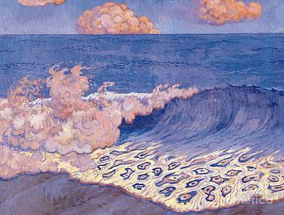 Blue Seascape Wave Effect Art Print by Georges Lacombe