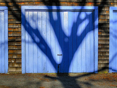 Whats Your Sign - Blue shadow blue door by David Stone