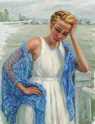 Painting - Blue Shawl by Serguei Zlenko