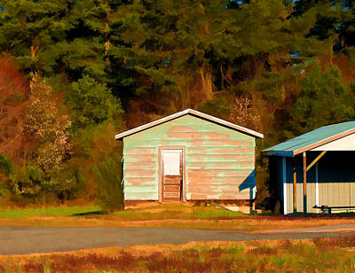 Painting - Blue Shed In Early Morning Light - Lake Wheeler Road by Paulette B Wright