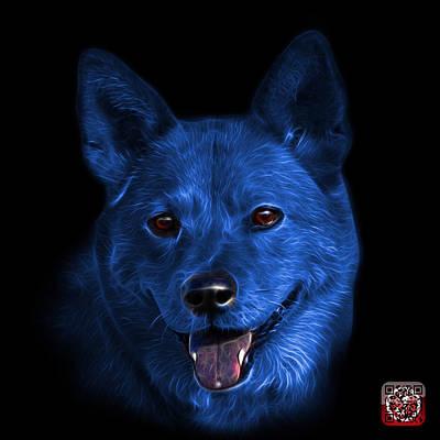 Mixed Media - Blue Shiba Inu Dog Art - 8555 - Bb by James Ahn
