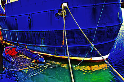 Blue Ship Print by Tony Reddington