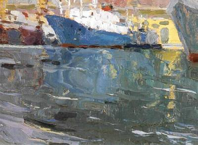 Blue Ship  Vladivostok Vintage Art Prints Art Print by Jake Hartz