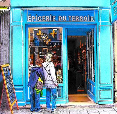 Paris Street Scene Painting - Blue Shop In Paris by Jan Matson