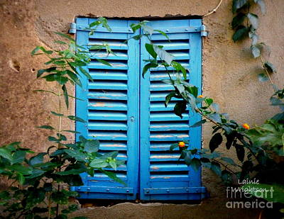 Blue Shuttered Window Art Print by Lainie Wrightson