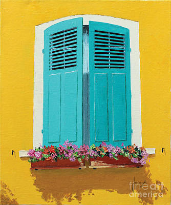 Boxes Painting - Blue Shutters And Flower Box by Jean-Marc Janiaczyk