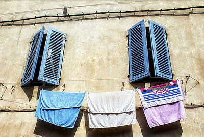 Towels Drying Photograph - Blue Shutters And Laundry  by Georgia Fowler