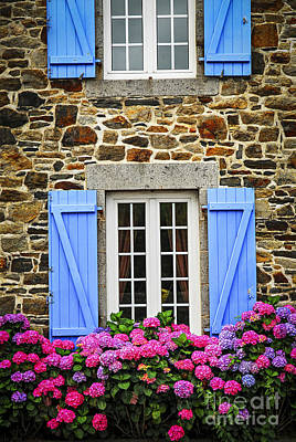 Country Cottage Photograph - Blue Shutters by Elena Elisseeva