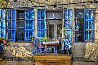 Stone Planter Photograph - Blue Shutters by Ken Smith