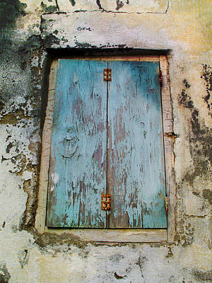 Greek Photograph - Blue Shutters On Old House In Greece by Cimorene Photography
