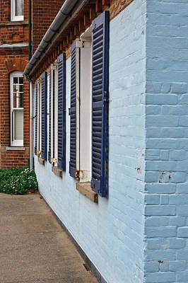 Blue Shutters Art Print by Tom Gowanlock