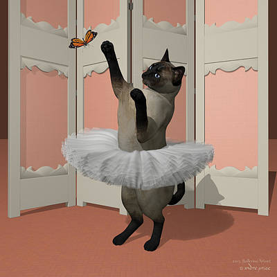 Blue Siamese Ballet Cat On Paw-te Art Print by Andre Price
