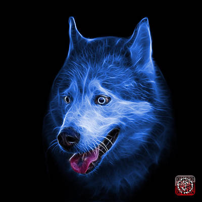 Painting - Blue Siberian Husky Dog Art - 6062 - Bb by James Ahn