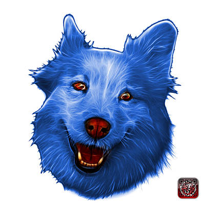 Painting - Blue Siberian Husky Mix Dog Pop Art - 5060 Wb by James Ahn