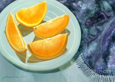 Blue Silk And Oranges Print by Joan A Hamilton