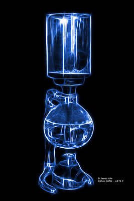 Digital Art - Blue Siphon Coffee 6781 F by James Ahn
