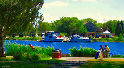 Summer Along The Canal Painting - Blue Skies Boats And Bikes Montreal Summer Scene The Lachine Canal Seascape Art Carole Spandau by Carole Spandau