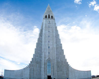 Photograph - Blue Skies Over Hallgrimskirkja by Kristia Adams