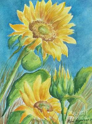 Painting - Blue Skies Sunflower by Lynn Maverick Denzer