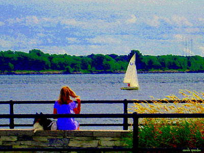 Summer Along The Canal Painting - Blue Skies White Sails Drifting Blonde Girl And Collie Watch River Run Lachine Scenes Carole Spandau by Carole Spandau